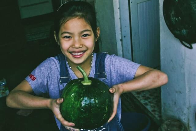 holding a water melon